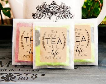 Wedding Tea Envelopes - Romantic Tea Pun - Bags & stickers for your DIY Favor Project - tea favor, winter - 20 envelopes (tea not included)