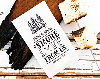 S'more Love From Us! - S'more Favor Bags - Popcorn Bag - Tall White Favor Bag - Personalize with your Names and Date  - 20 food service Bags