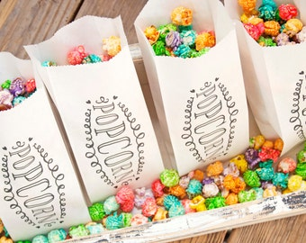 Popcorn Favor - Wedding or Valentine Bags  - Popcorn Swirl Design -  Birthday, Celebration, Party - 5 Tall White Favor Bags in each Pack