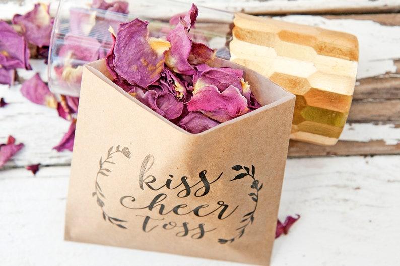 Fill with your own Rose or Flower Petals Kiss Cheer Toss Kraft Paper Favor Bags Wedding Petal Toss Bag 20 pack