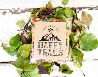 Happy Trails Wedding Favor Stickers - DIY Trail Mix Favors - 24 Large Stickers