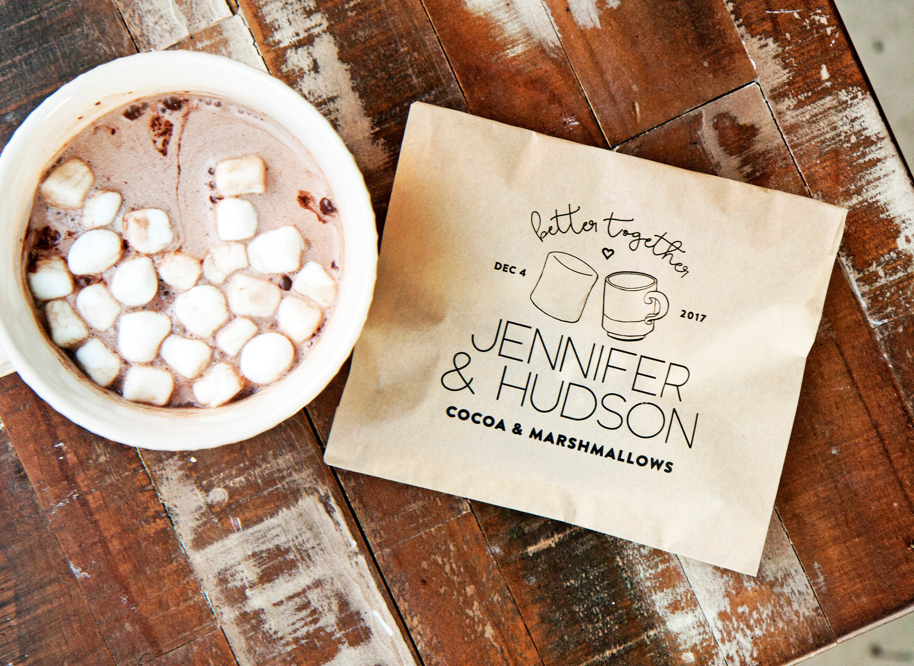 Hot Cocoa Favor Hot chocolate & marshmallow Personalized