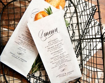 Wedding Menu Bag - Personalize with Your Menu - Bread, Baguette, Silverware Bag - Reception, Dinner Party, Anniversary - 20 bags per pack