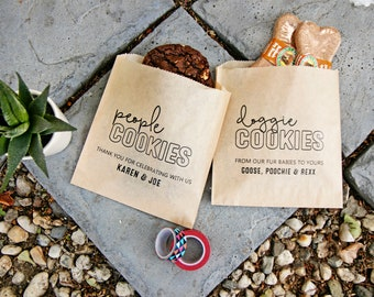Dog Lover's Wedding Favors - Doggie Treats / People Treats Bag - 20 Grease Resistant Bags (favors not included) #021