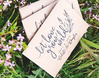 Wedding Favors - Let Love Grow Wild - Personalized Bag with Seeds INCLUDED - Lavender and Wildflower Seed Favor - 30 Packets or more