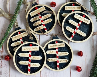 Family Signpost Hand-Painted Personalized Ornament