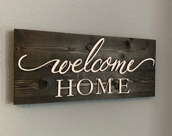 Welcome Home Solid Wood Rustic sign