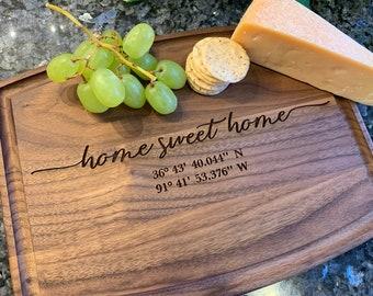 Custom Cutting board - Home Sweet Home with GPS coordinates