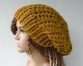 059c2604617 Mustard slouchy beanie woman lacy stretchy slouchy hat gold yellow wool  blend crochet beanie women teen slouch hat handmade winter women hat
