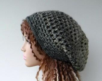 f0dd2e6e37f884 Slouchy beanie women, smaller Hippie Dread Tam Hat/gray beige ombre beanie  woman/women slouchy hat/teen slouchy beanie/grey crochet beanie