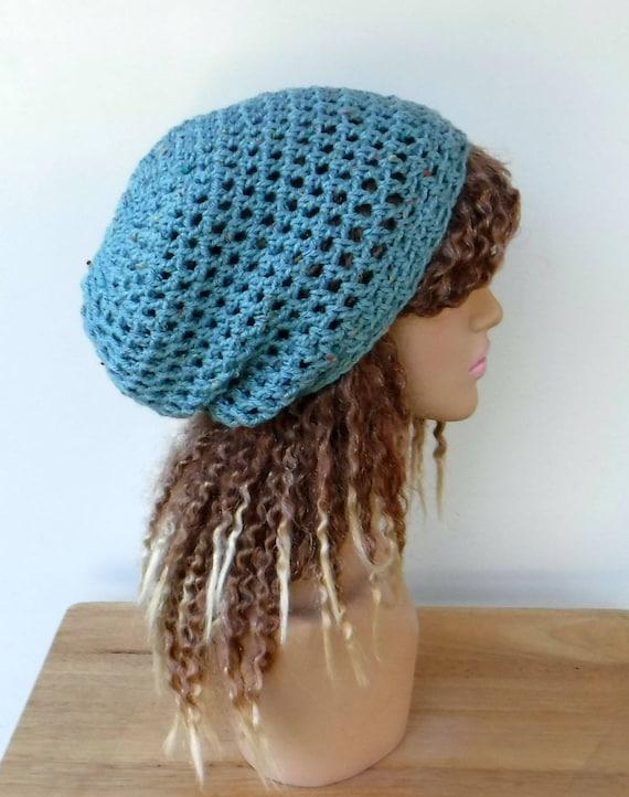 84df23245fc Sea blue slouchy hat woman hippie small dreadlocks beanie tam