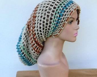 Slouchy hat, Hemp cotton long dread tam slouchy beanie crochet sock tam hat, summer slouchy beanie hat/woman man crochet hat/beige hemp hat