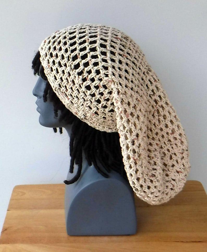 08acf640f Very slouchy beanie hat, dreadlocks hat, cotton hippie hat, dread tam hat  slouchy snood beanie hat, slouchy sock beanie hat for women men