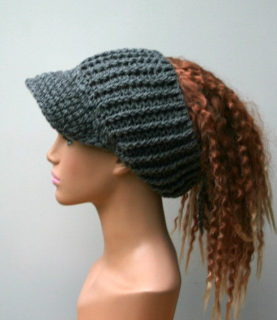 Heather gray Ponytail hat Visor Dread Tube cap billed dread  18f97e6568f