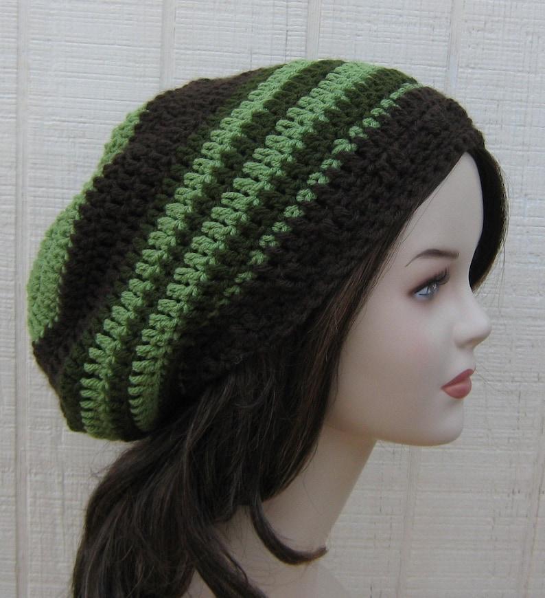 b3dba4e8faa Slouchy Beanie Tea Leaves Green Brown Dread Tam Hat Hippie