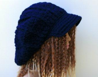 Navy blue Slouchy Newsboy Visor Dread Tam, Hipster brimmed beanie, Newsboy cap, slouchy beanie with bill, slouch cap, dreadlocks cap hat