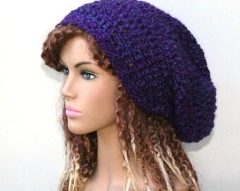 Purple Haze Plush slouchy beanie, dread tam beanie, Bohemian hat, woman beanie, warm beanie, slouch beanie, slouch hat, women beanie, BOHo