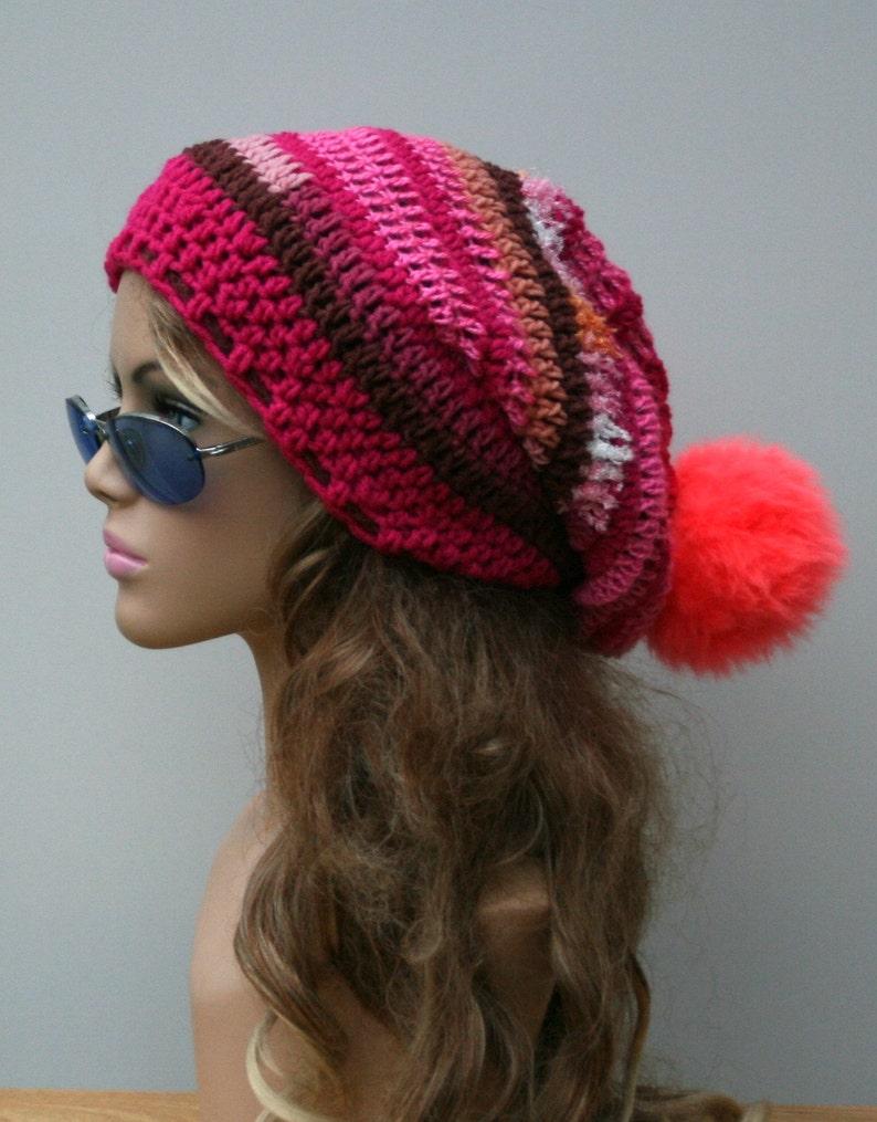 Sale Slouchy beanie hat with Pom Pom pompom beanie Bohemian  36839272217