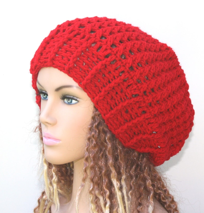 67b71a49529 Slouchy beanie holly berry red beanie hat Baggy Hipster Hat