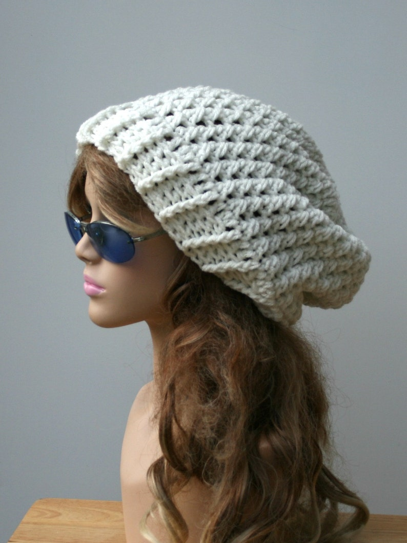 1438bcc6120 Slouchy Beanie Eggshell Baggy Hipster Hat Dread Tam hat