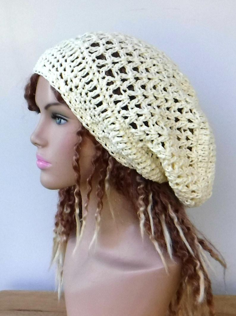 8375bb5e2 Cotton slouchy hat, hippie dread tam hat/slouchy beanie/ivory snood  beanie/summer crochet hat, handmade slouchy hat/women hat
