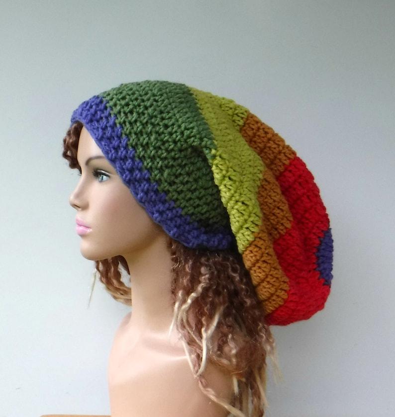 b2519534e Rainbow Slouchy Beanie, Long Sock Dread Tam Hippie Hat, Women Slouchy Hat,  Woman Beanie Dread Tam Hat, Dreadlocks Large Slouch Hat