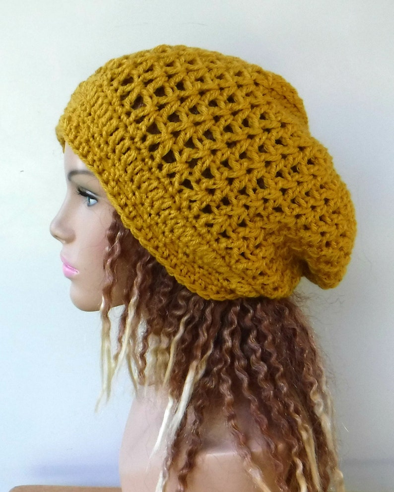 4ba164e851a Mustard slouchy beanie smaller Hippie Dread Tam Hat dijon