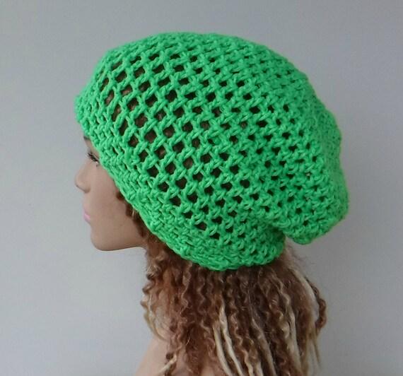 c10da6f6f36 Slouchy hat bright lime green hippie dread beanie tam hat