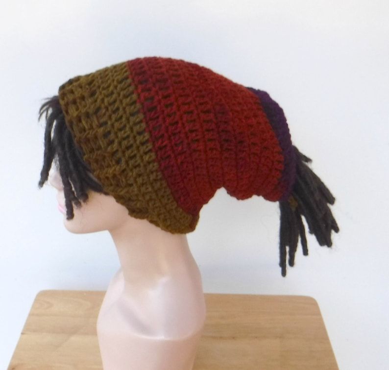 d568aabc5e7 Dread tube hat open back slouchy hat dreadlocks beanie with
