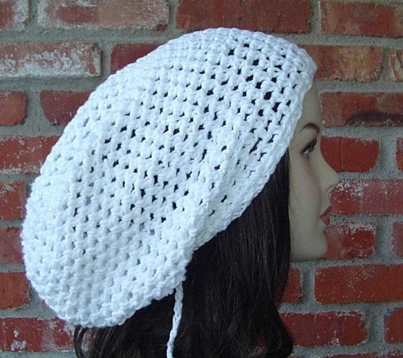 59ad0a99803 Summer slouchy hat pure white cotton hippie dreadlock hat