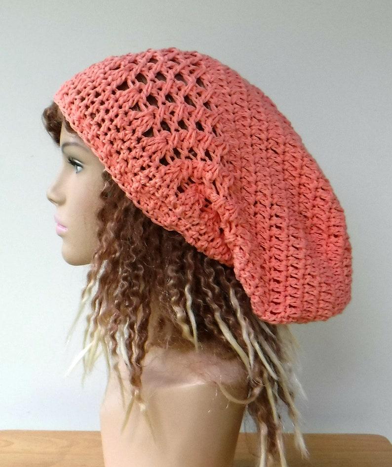 c9802aeef04 Coral Cotton Slouchy Hat Women Dread Tam hat Slouchy Beanie