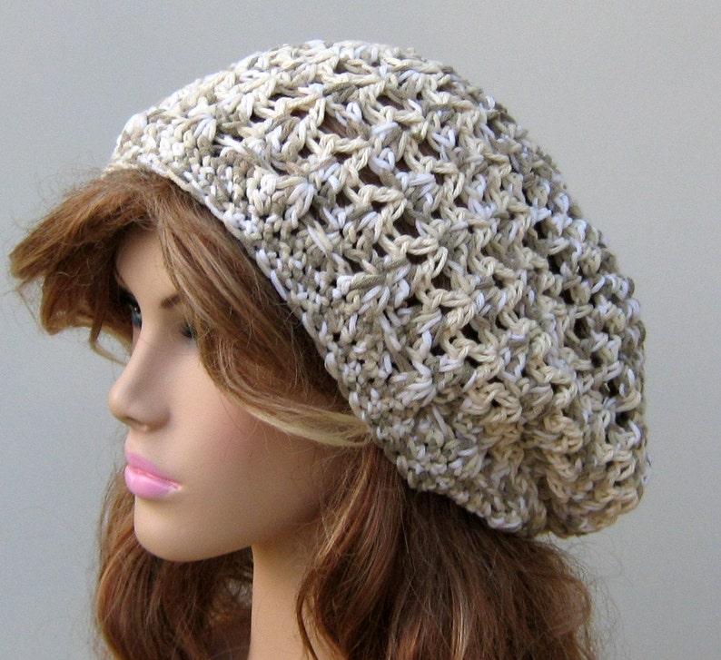 ecb57639d Cara Mia slouchy hat, hippie snood dread tam hat slouchy beanie cotton  medley version 2