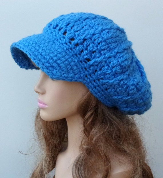 c056d4e9977 Newsboy cap Delft blue Cap Visor Tam Hat Hippie Slouchy