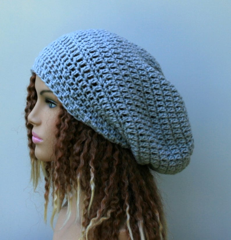 b670048da05 Slouchy Beanie Hat in Light Gray Hippie Dread Sock Tam Hat