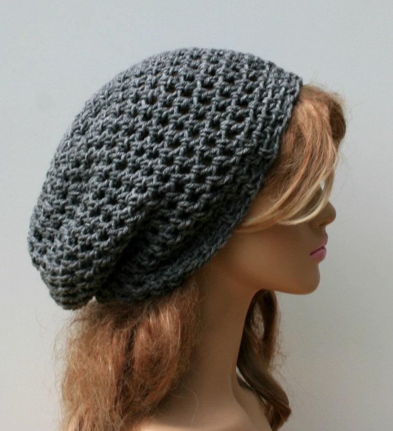 9f006051bb8 Heather gray slouchy beanie hippie beanie small tam hat