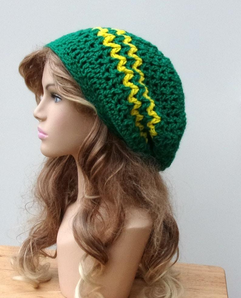 ed742bc6e Slouchy hat, Emerald green yellow slouchy beanie Hippie Dread Tam Hat  crochet, woman or man slouchy beanie, slouchy hat