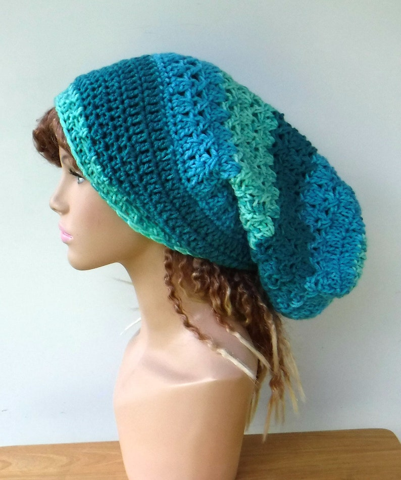 751904f755a Teal blue Slouch Hat Dreadlocks Hat. Dread Tam Long Slouchy