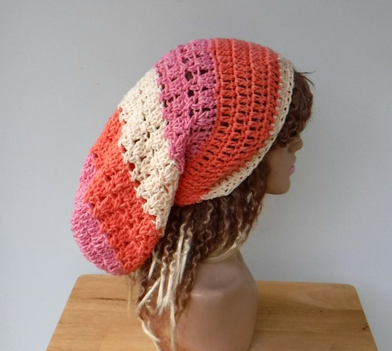 Designer Huggee Locks Beanie\u2122 Slouch Beanie Dread Beanie 16 Long Dread Hat Peach Tone