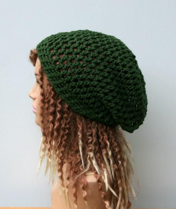 bcf5c7c2ce5 Slouchy hat Thyme green hippie dread beanie tam hat hairnet
