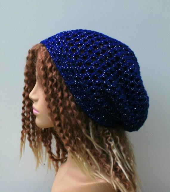 6c2d5ff5ae4 Soft lurex summer slouchy hat royal blue metallic small tam