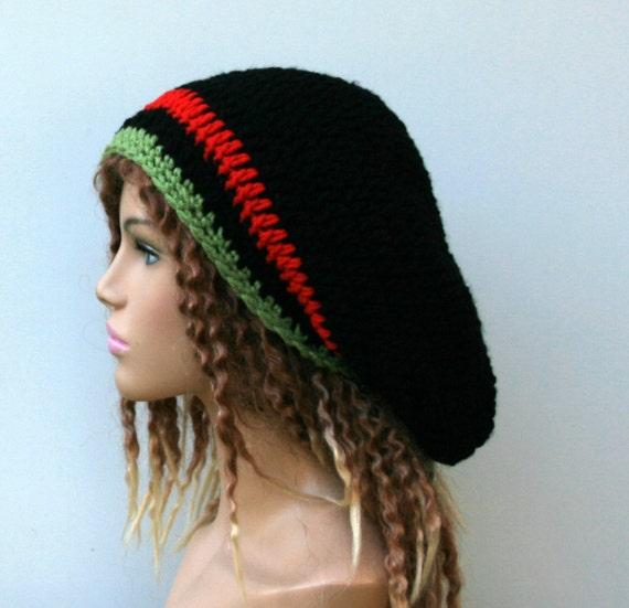 435708731ef Slouchy hat Black red green stripes hat small tam dread hat
