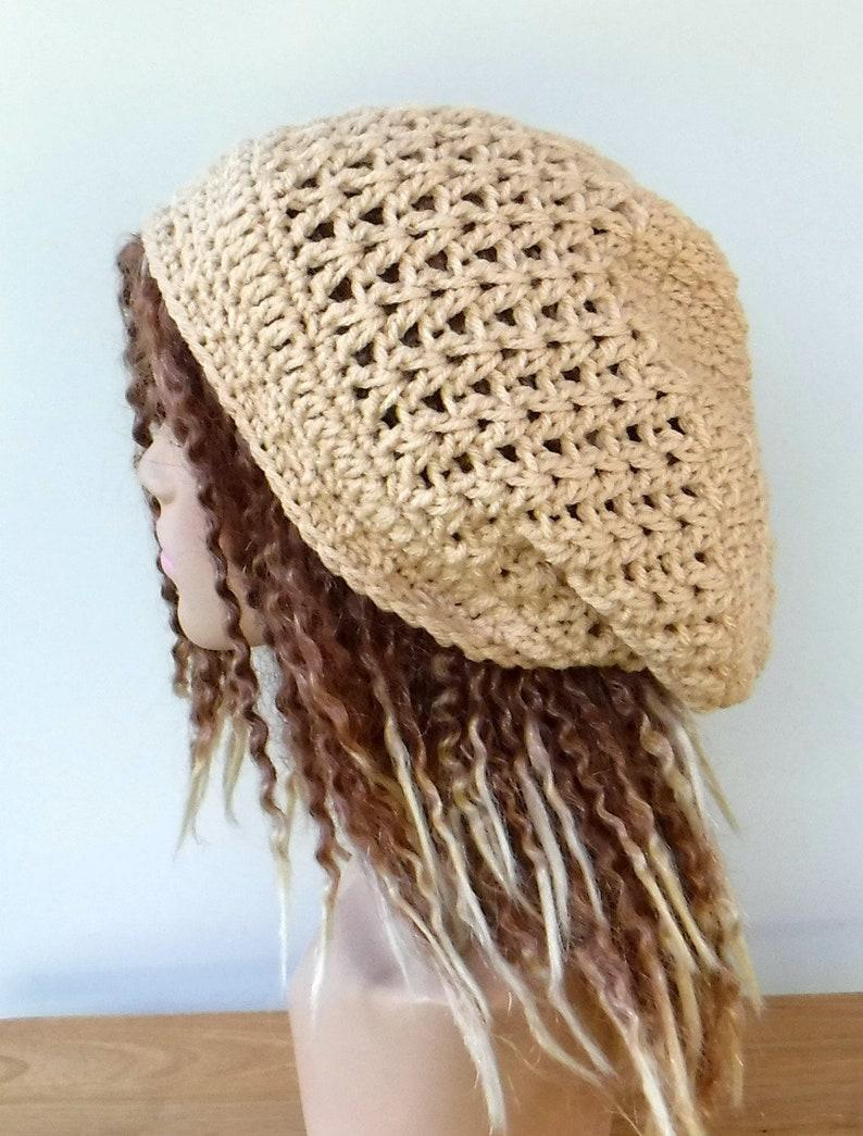 f98188657f9 Beige slouchy beanie smaller Hippie Dread Tam Hat neutral