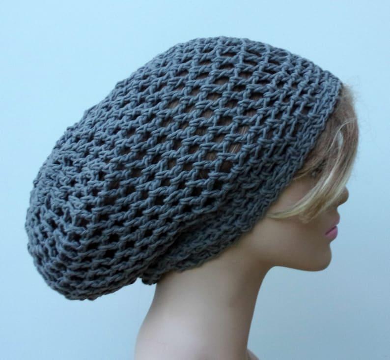 93ff868b9 Hemp cotton slouchy hat, Larger gray Hemp cotton Hippie Dread Tam Snood hat  slouchy beanie grey, man woman beanie, summer hat