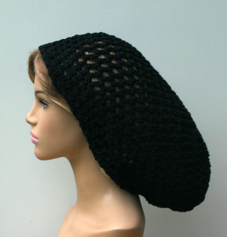 6054f0c91d7 Long Cotton Black slouchy hat sock dread tam dreads beanie