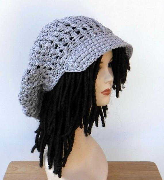 c61d98a60a6 Grey cotton Slouchy Newsboy hat Visor Tam women men large