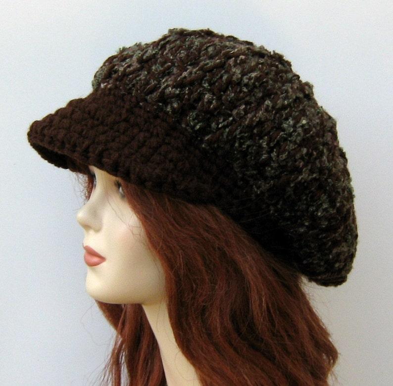 8426a1b158c Newsboy cap Brown boucle Cap Visor Tam Hat Hippie Slouchy
