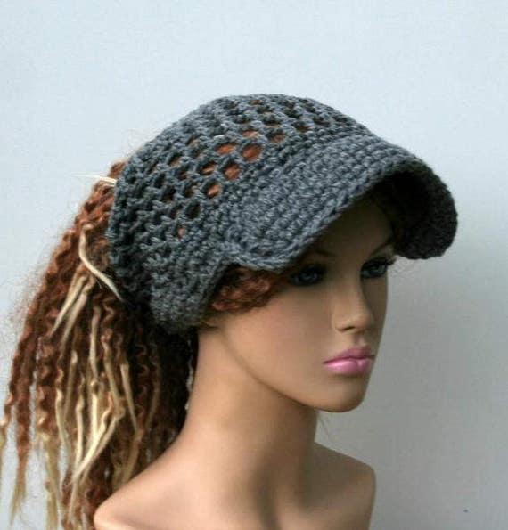 Grey Ponytail hat or other custom color Visor Dread Tube cap  8f3c050edff