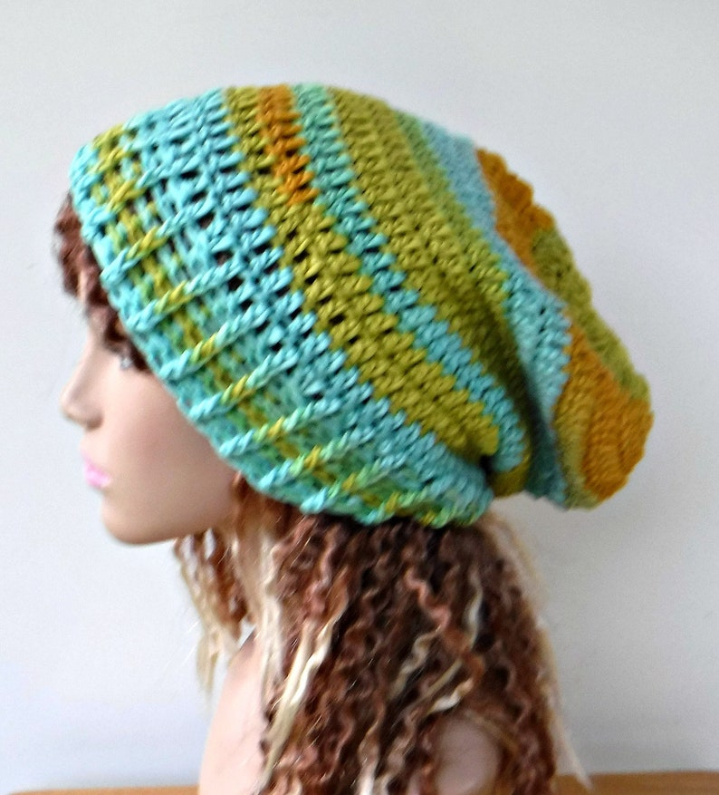 bright yellow chartreuse turquoise woman slouchy hat Slouchy beanie soy fiber wool hat crochet beanie hathandmade women beanie hat