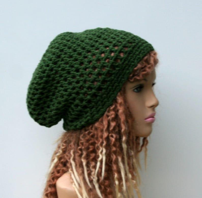b97d9da14ea Slouchy hat Thyme green hippie dread beanie tam hat hairnet