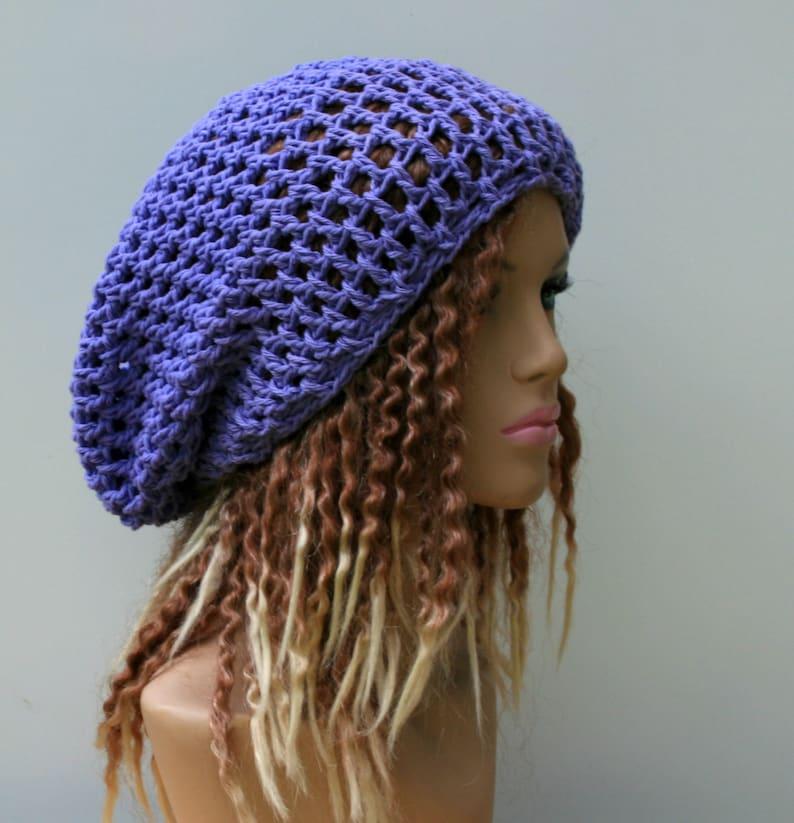 f6538d7ec Cotton Slouchy beanie, orchid purple hippie dread tam hat slouchy snood  beanie hat